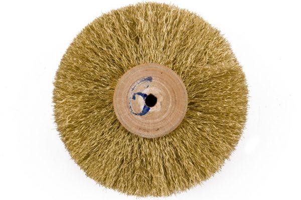 Щітка латунна 6-ти рядна d-90 мм, на дерев'яному диску, 301-253