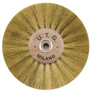Щетка латунная UTG 4-х рядная d-100 мм (58108 М100Х4L) на деревянном диске