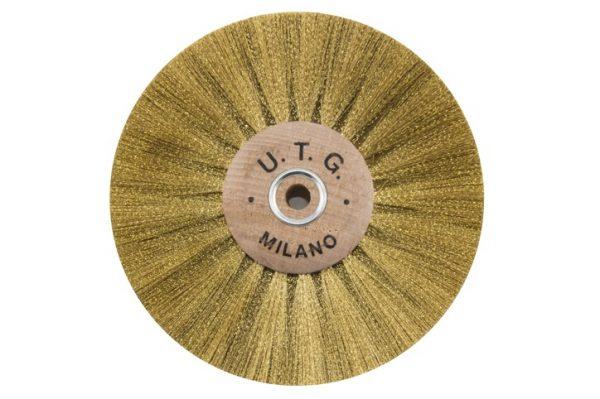 Щітка латунна UTG 4-х рядна d-100 мм (58108 М100Х4L) на дерев'яному диску